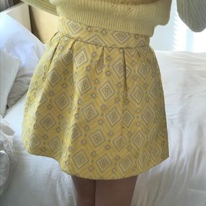 Zara Yellow Geometric embroidered Skirt SZ S/M